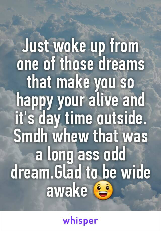 Just woke up from one of those dreams that make you so happy your alive and it's day time outside. Smdh whew that was a long ass odd dream.Glad to be wide awake 😀