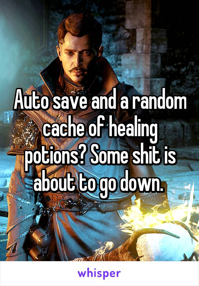 Auto save and a random cache of healing potions? Some shit is about to go down.
