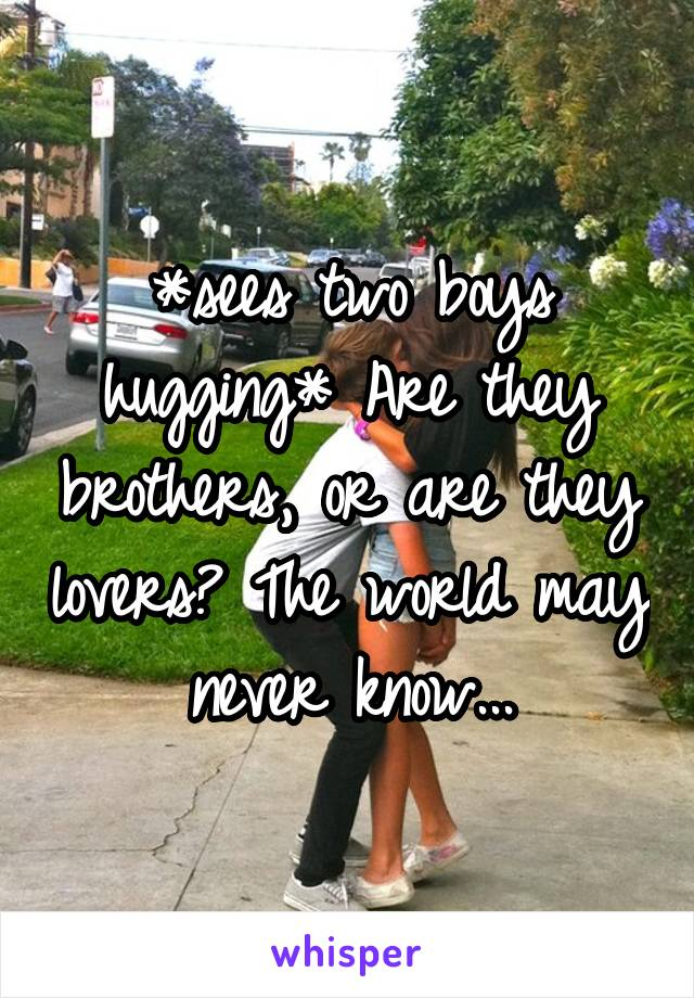 *sees two boys hugging* Are they brothers, or are they lovers? The world may never know...