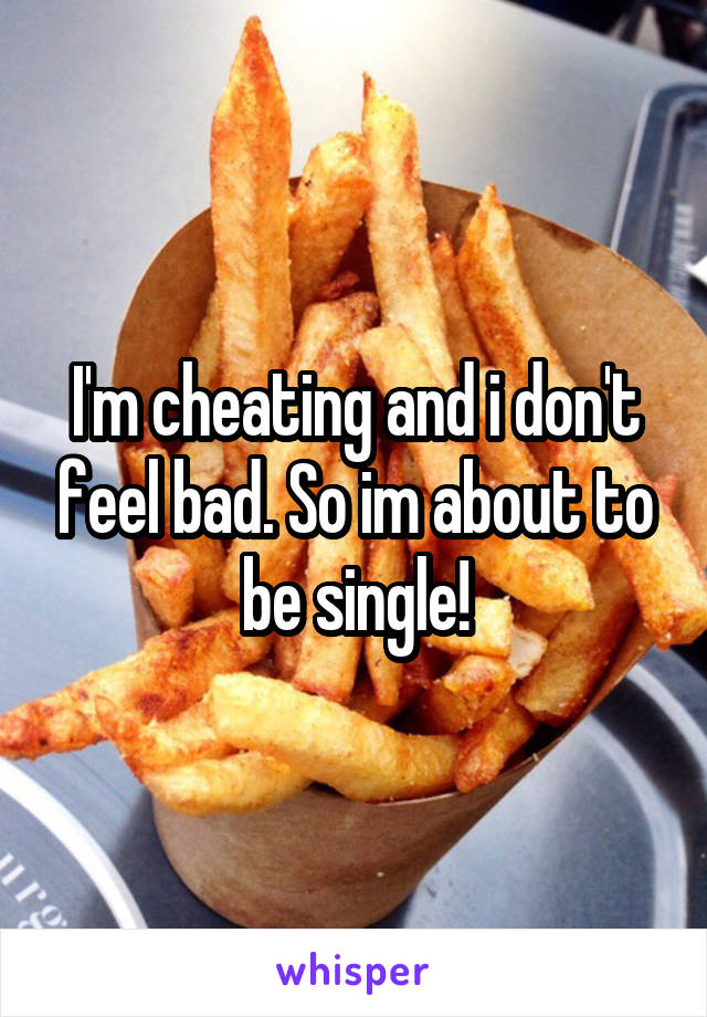 I'm cheating and i don't feel bad. So im about to be single!