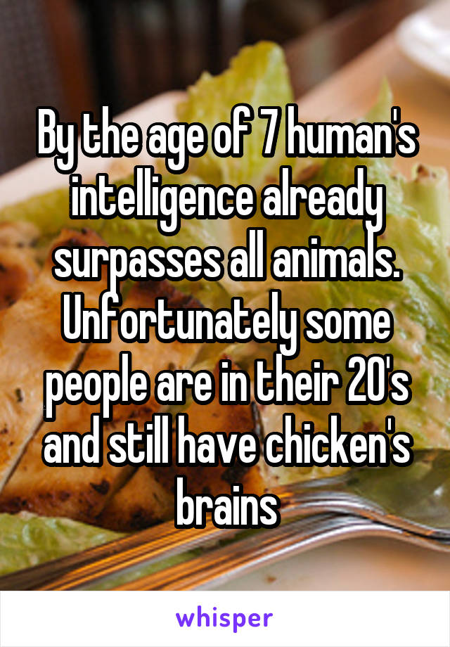 By the age of 7 human's intelligence already surpasses all animals. Unfortunately some people are in their 20's and still have chicken's brains
