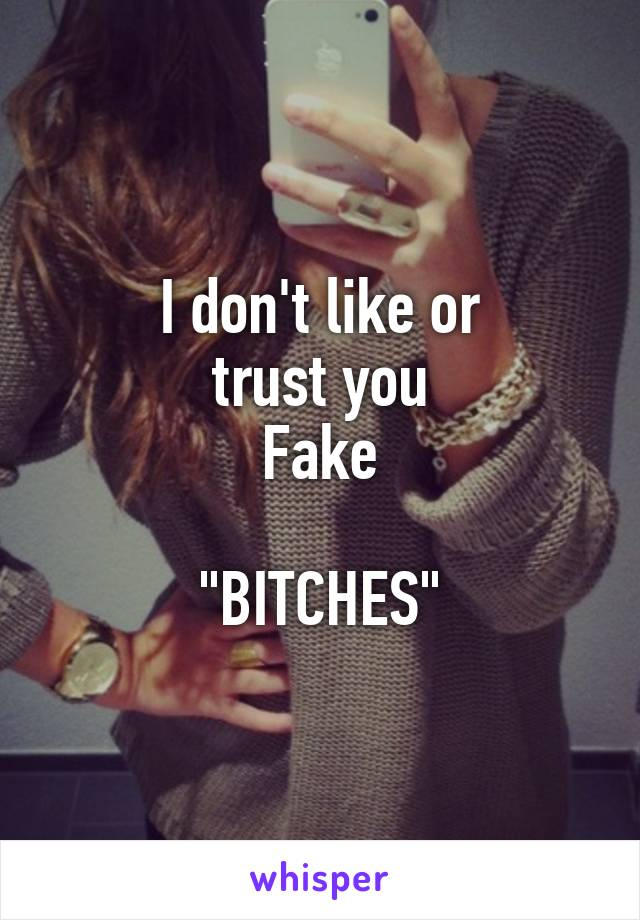 "I don't like or trust you Fake  ""BITCHES"""