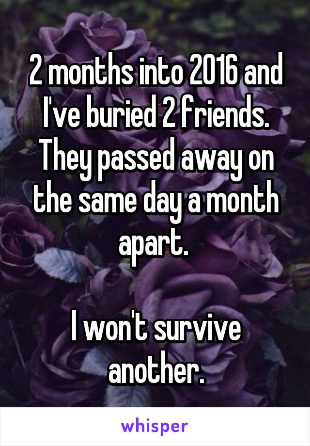 2 months into 2016 and I've buried 2 friends. They passed away on the same day a month apart.   I won't survive another.