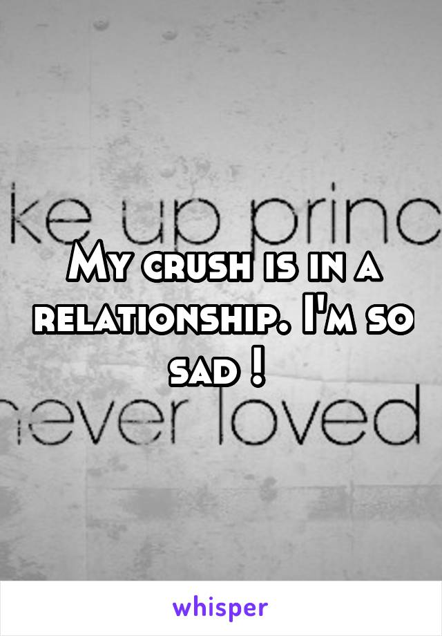 My crush is in a relationship. I'm so sad !