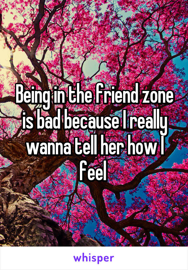 Being in the friend zone is bad because I really wanna tell her how I feel