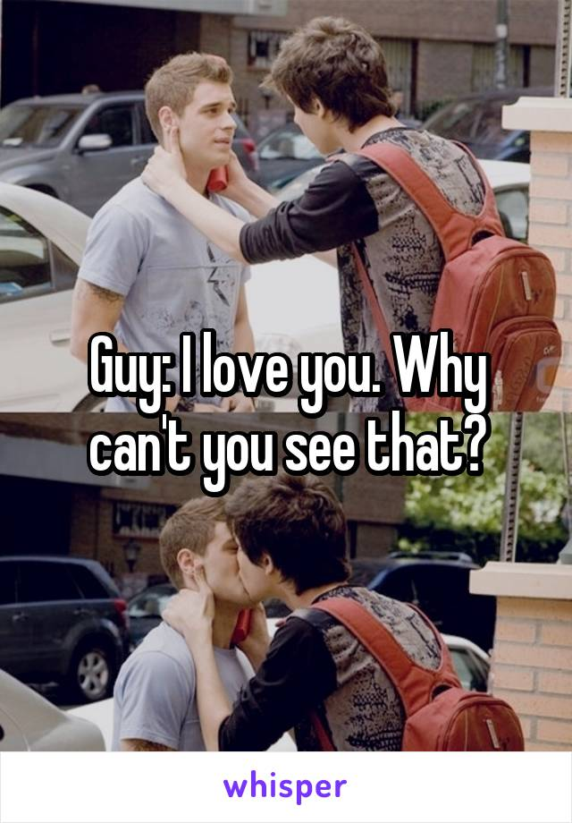 Guy: I love you. Why can't you see that?