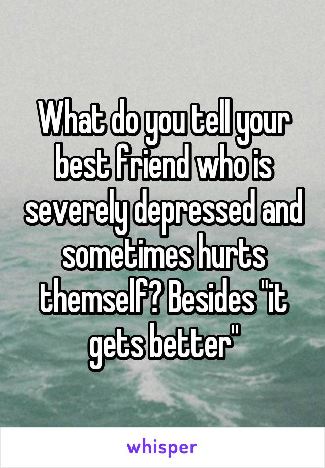 """What do you tell your best friend who is severely depressed and sometimes hurts themself? Besides """"it gets better"""""""
