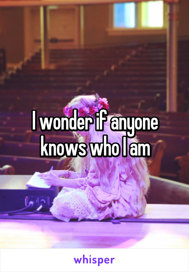 I wonder if anyone knows who I am
