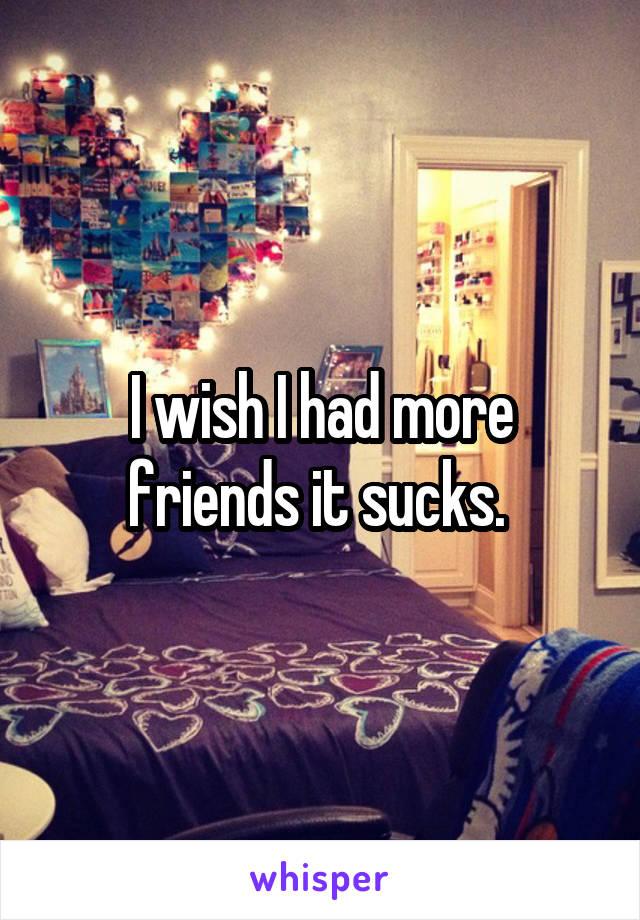 I wish I had more friends it sucks.