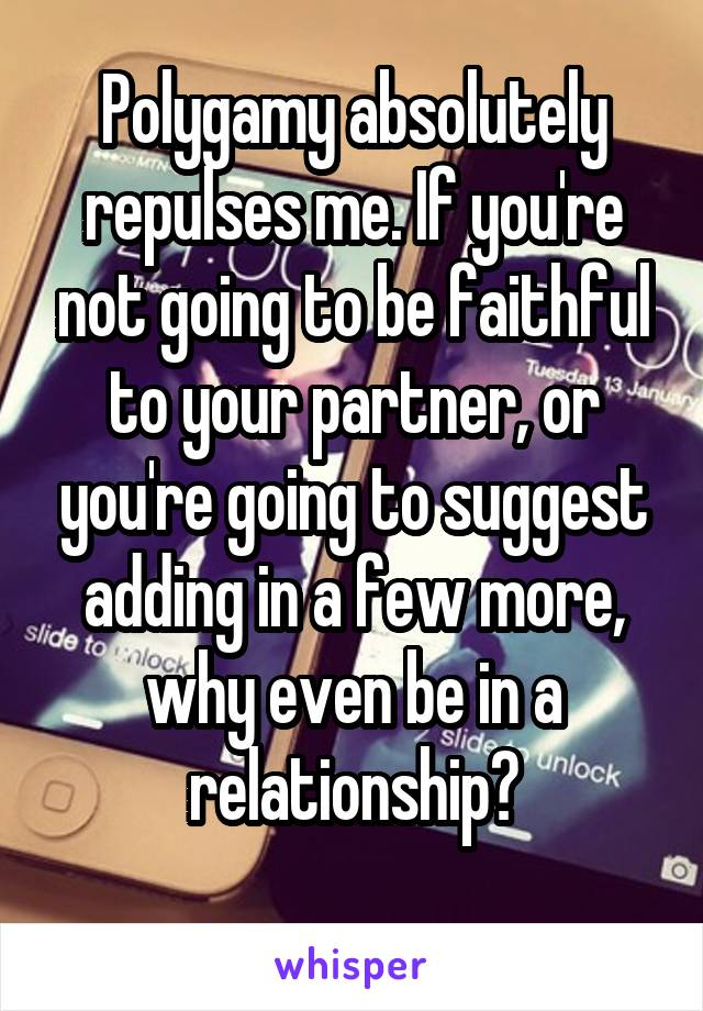 Polygamy absolutely repulses me. If you're not going to be faithful to your partner, or you're going to suggest adding in a few more, why even be in a relationship?