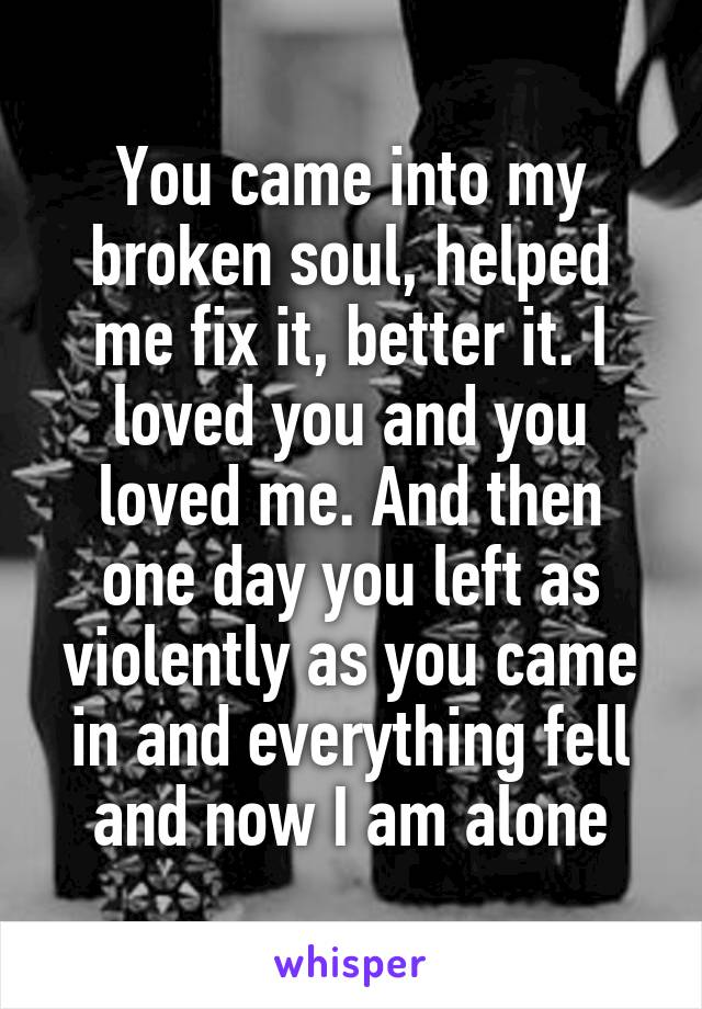 You came into my broken soul, helped me fix it, better it. I loved you and you loved me. And then one day you left as violently as you came in and everything fell and now I am alone