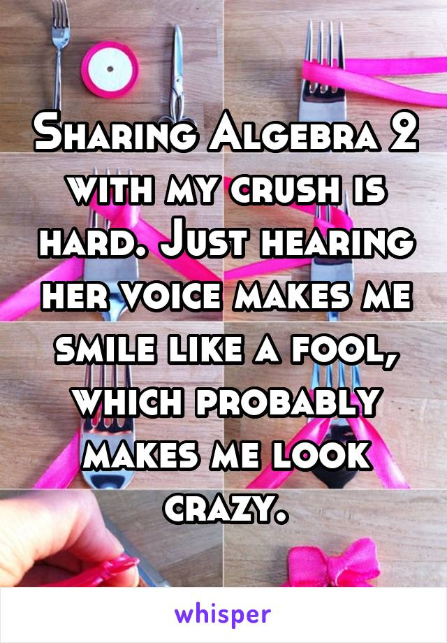 Sharing Algebra 2 with my crush is hard. Just hearing her voice makes me smile like a fool, which probably makes me look crazy.