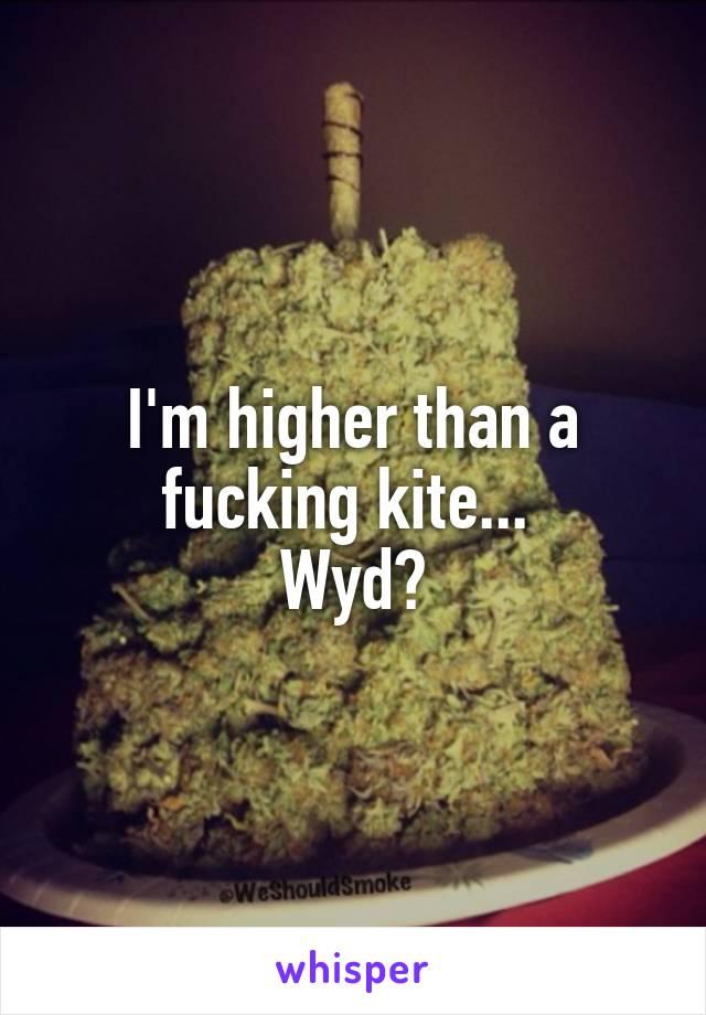 I'm higher than a fucking kite...  Wyd?