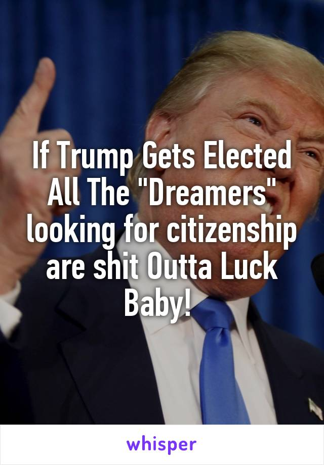"""If Trump Gets Elected All The """"Dreamers"""" looking for citizenship are shit Outta Luck Baby!"""