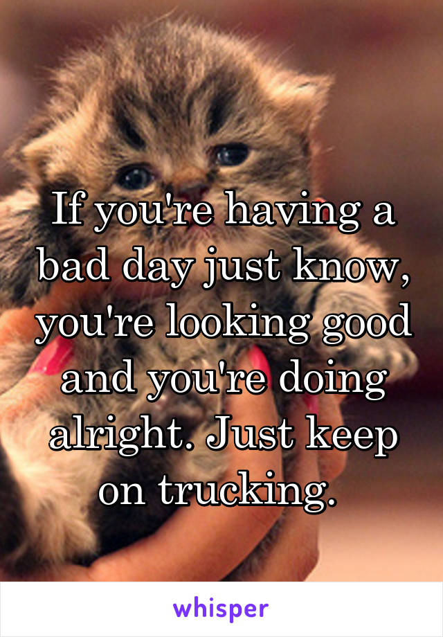 If you're having a bad day just know, you're looking good and you're doing alright. Just keep on trucking.
