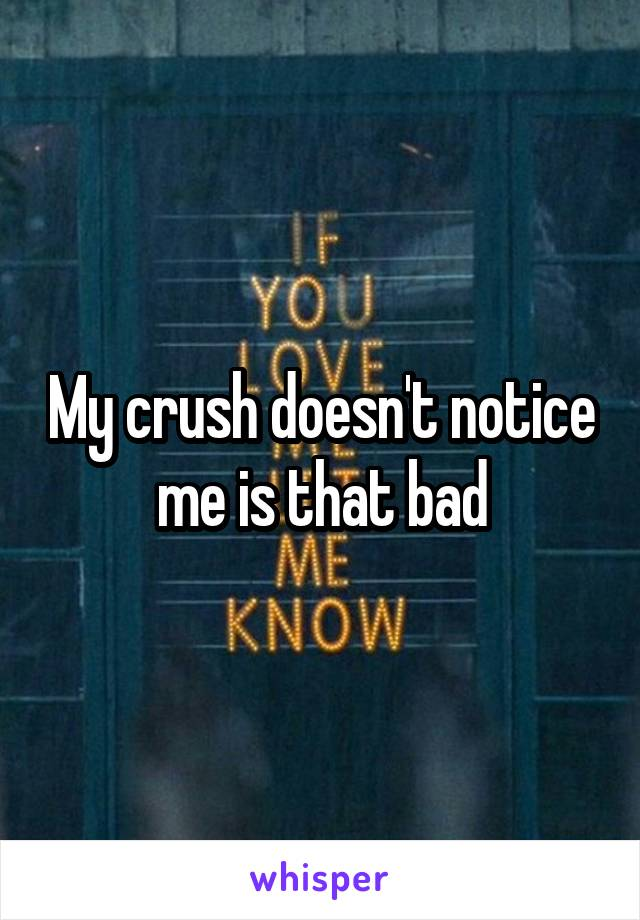 My crush doesn't notice me is that bad