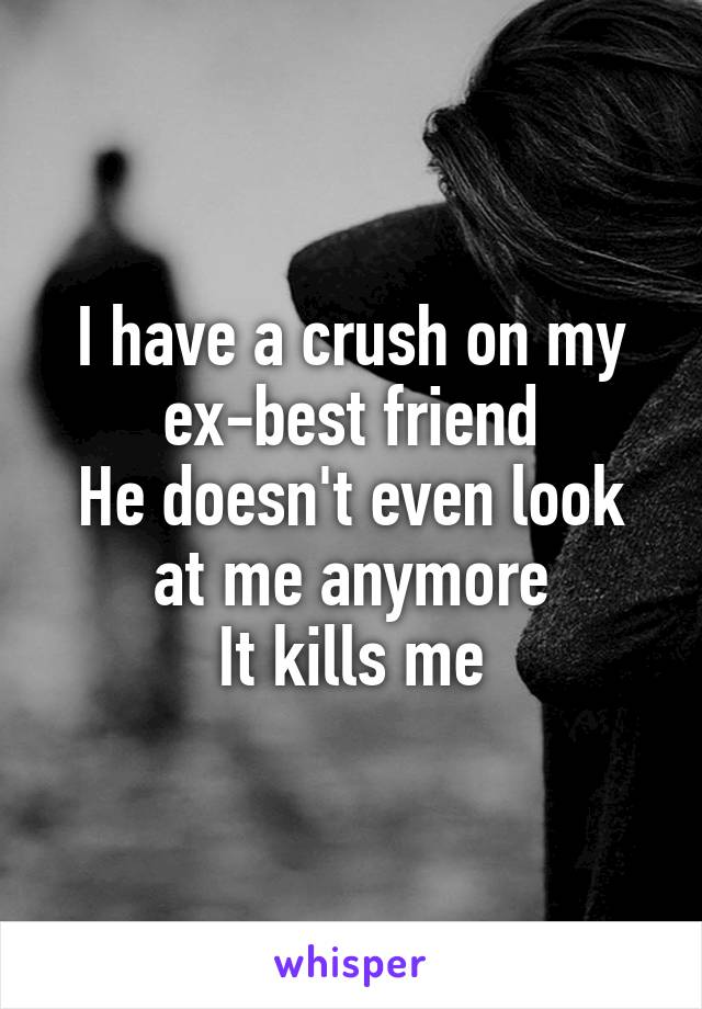 I have a crush on my ex-best friend He doesn't even look at me anymore It kills me