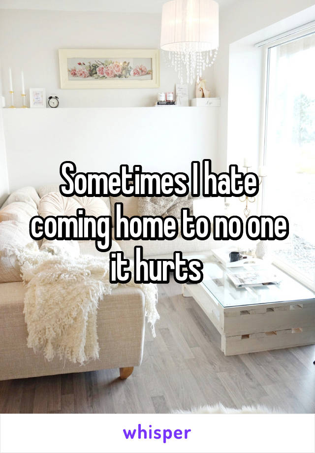 Sometimes I hate coming home to no one it hurts