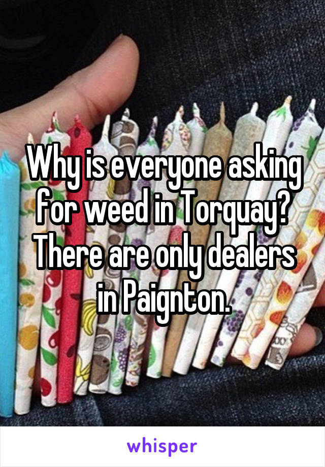 Why is everyone asking for weed in Torquay? There are only dealers in Paignton.