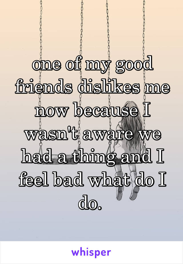 one of my good friends dislikes me now because I wasn't aware we had a thing and I feel bad what do I do.