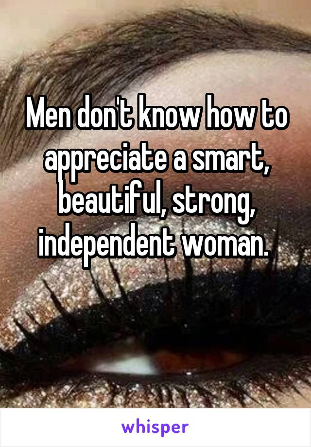 Men don't know how to appreciate a smart, beautiful, strong, independent woman.