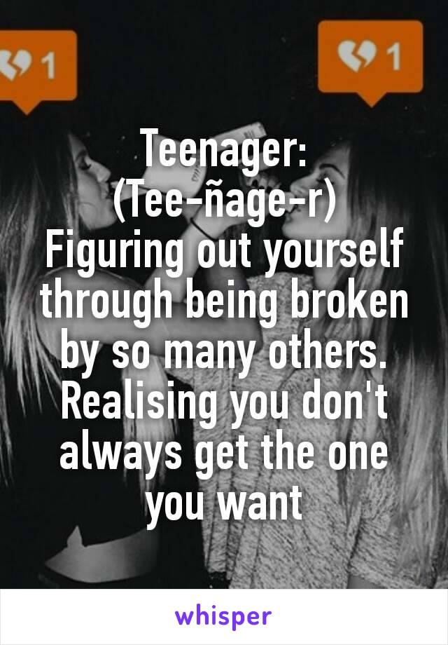 Teenager: (Tee-ñage-r) Figuring out yourself through being broken by so many others. Realising you don't always get the one you want