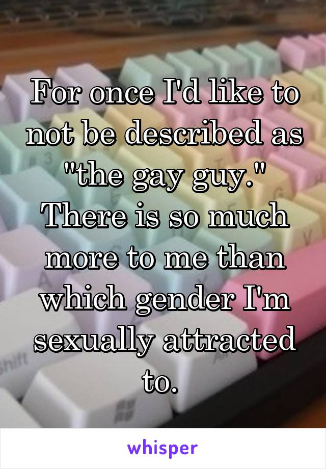 "For once I'd like to not be described as ""the gay guy."" There is so much more to me than which gender I'm sexually attracted to."