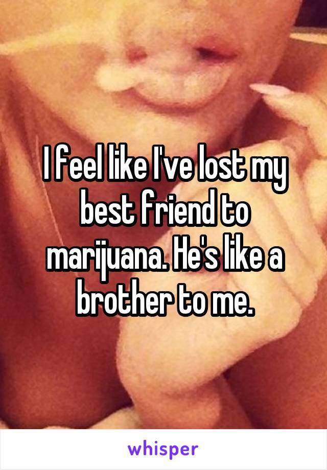 I feel like I've lost my best friend to marijuana. He's like a brother to me.