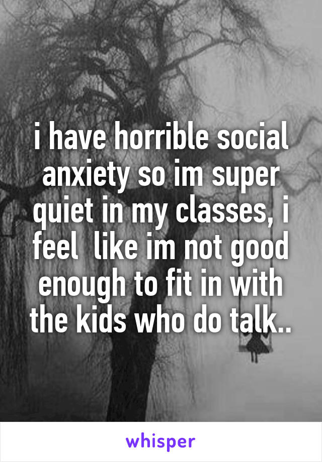 i have horrible social anxiety so im super quiet in my classes, i feel  like im not good enough to fit in with the kids who do talk..