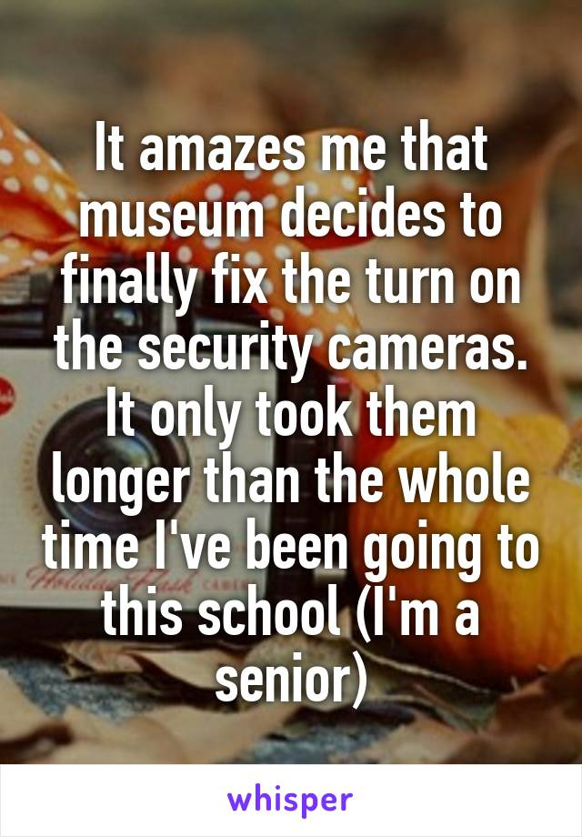 It amazes me that museum decides to finally fix the turn on the security cameras. It only took them longer than the whole time I've been going to this school (I'm a senior)