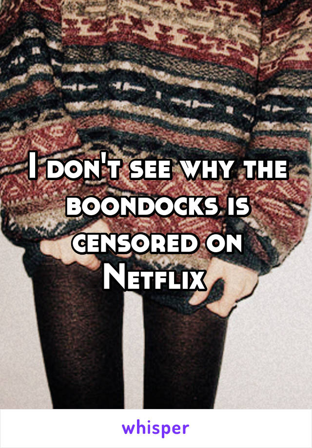 I don't see why the boondocks is censored on Netflix