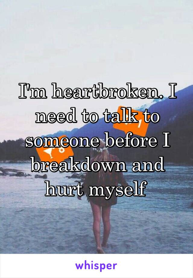 I'm heartbroken. I need to talk to someone before I breakdown and hurt myself