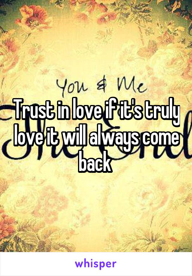 Trust in love if it's truly love it will always come back