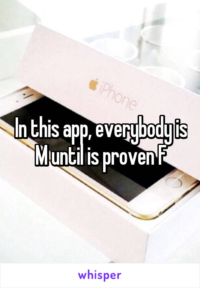 In this app, everybody is M until is proven F