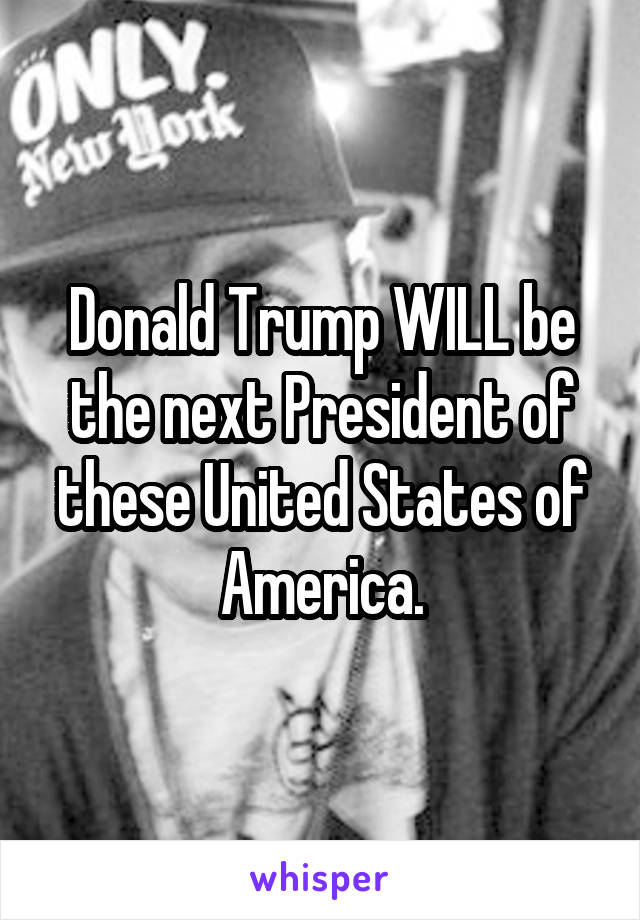 Donald Trump WILL be the next President of these United States of America.