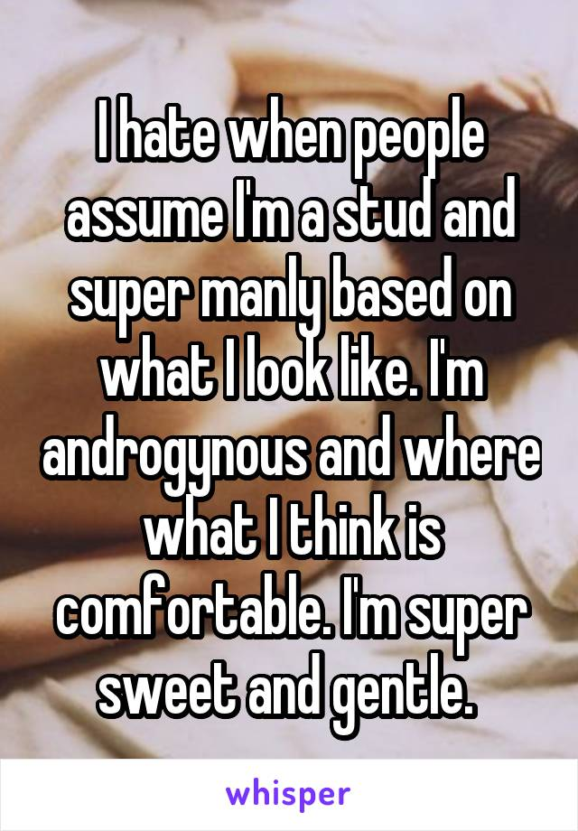 I hate when people assume I'm a stud and super manly based on what I look like. I'm androgynous and where what I think is comfortable. I'm super sweet and gentle.