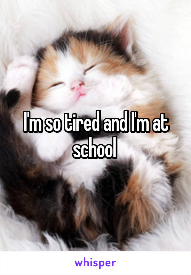 I'm so tired and I'm at school