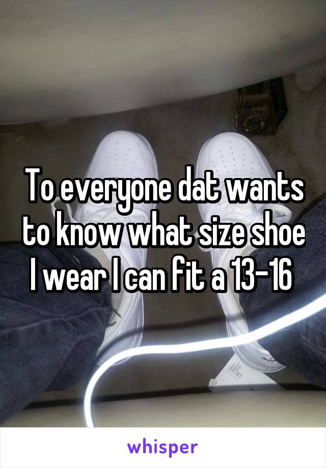 To everyone dat wants to know what size shoe I wear I can fit a 13-16