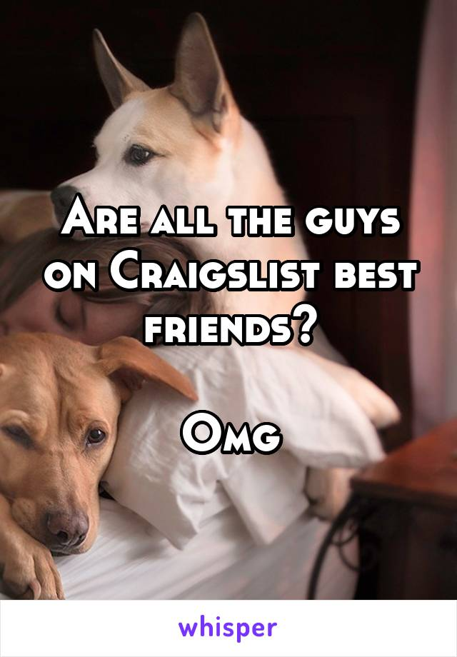Are all the guys on Craigslist best friends?  Omg