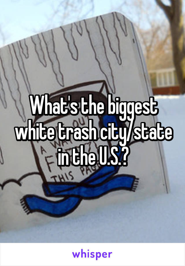 What's the biggest white trash city/state in the U.S.?