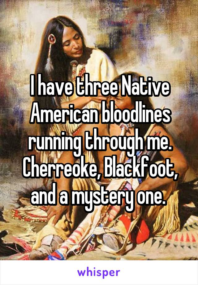 I have three Native American bloodlines running through me. Cherreoke, Blackfoot, and a mystery one.
