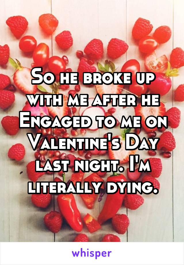 So he broke up with me after he Engaged to me on Valentine's Day last night. I'm literally dying.