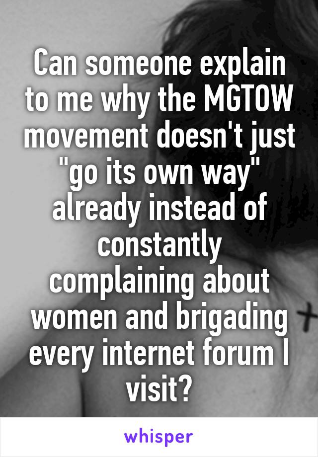 Can someone explain to me why the MGTOW movement doesn't just