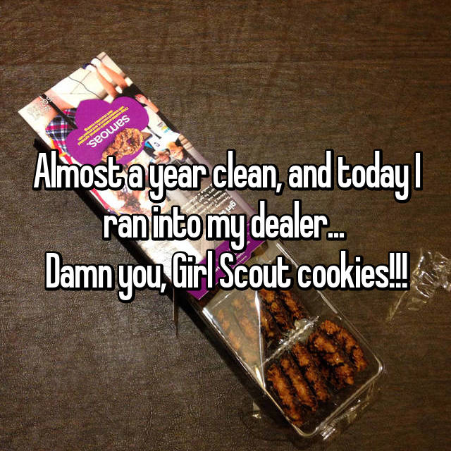 Almost a year clean, and today I ran into my dealer...  Damn you, Girl Scout cookies!!!
