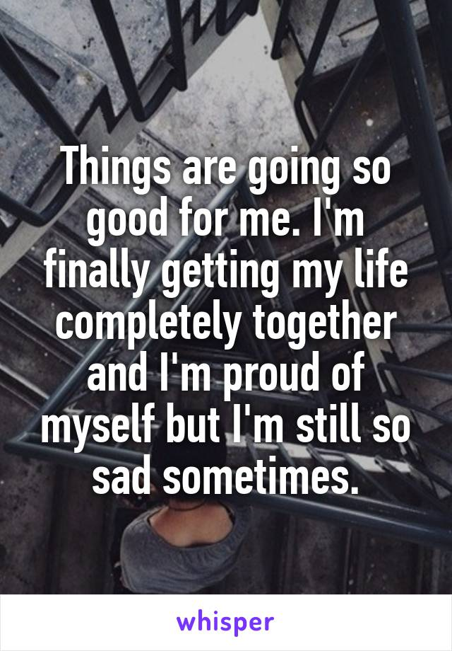 Things are going so good for me. I'm finally getting my life completely together and I'm proud of myself but I'm still so sad sometimes.