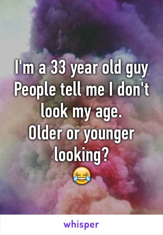 I'm a 33 year old guy People tell me I don't look my age.  Older or younger looking? 😂
