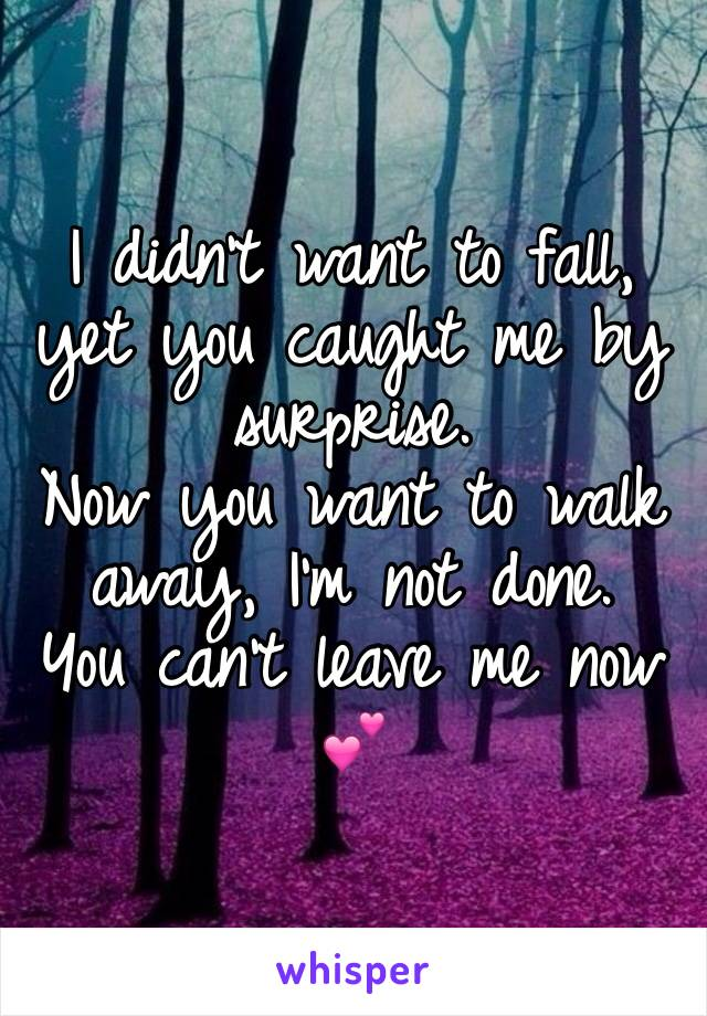 I didn't want to fall, yet you caught me by surprise. Now you want to walk away, I'm not done. You can't leave me now 💕