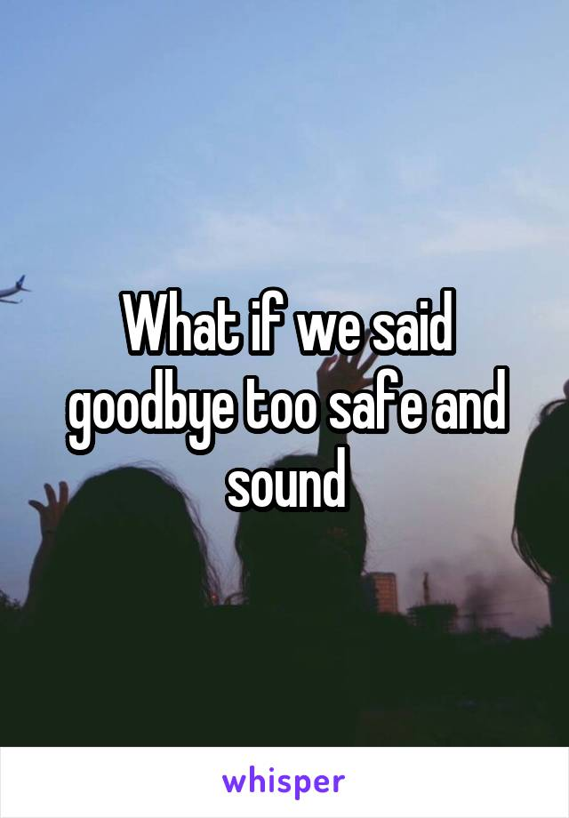 What if we said goodbye too safe and sound