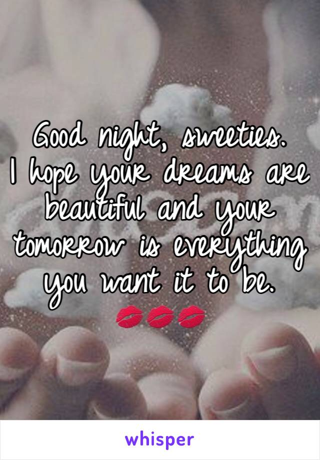 Good night, sweeties.  I hope your dreams are beautiful and your tomorrow is everything you want it to be.  💋💋💋
