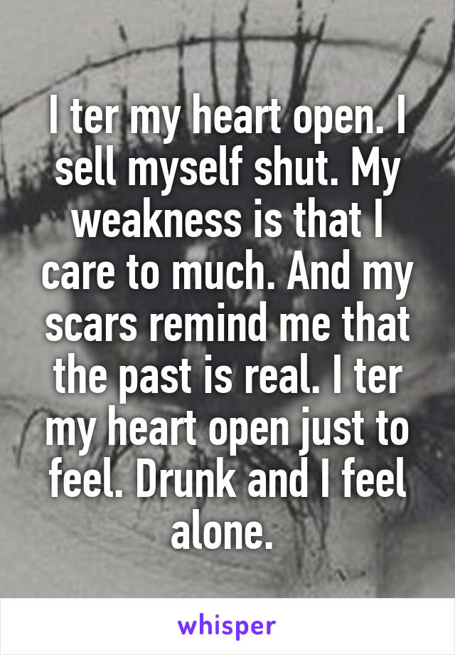 I ter my heart open. I sell myself shut. My weakness is that I care to much. And my scars remind me that the past is real. I ter my heart open just to feel. Drunk and I feel alone.